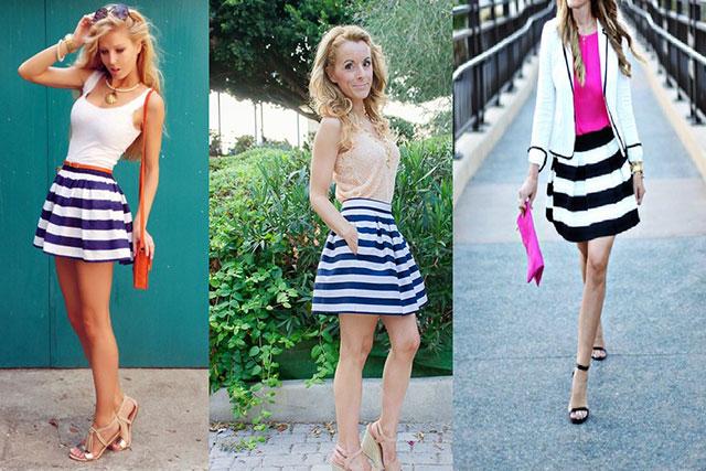 Outfit con faldas de rayas