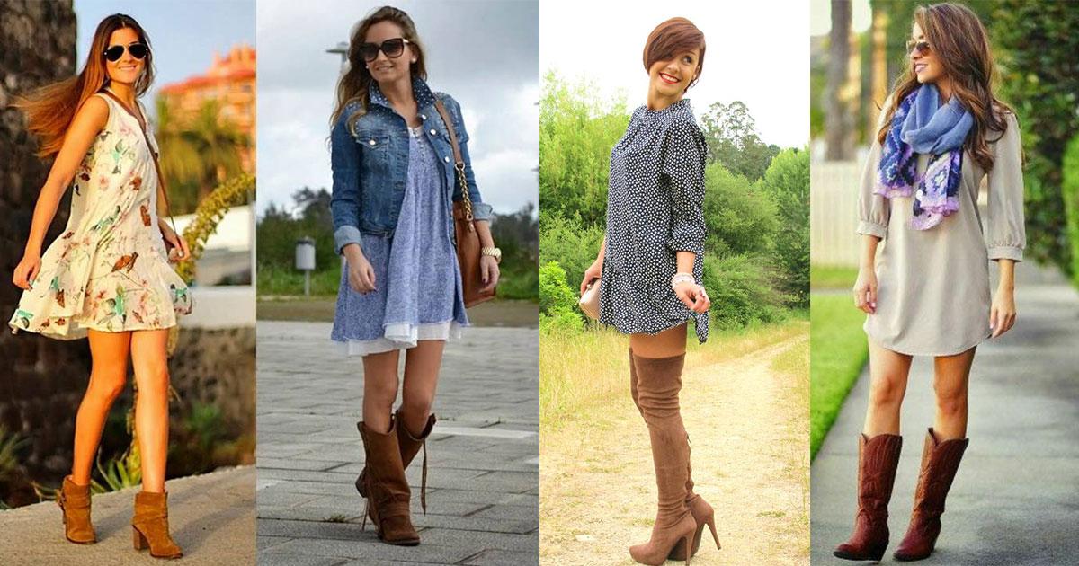 6 Outfits Increíbles Con Vestidos Y Botas Vaqueras